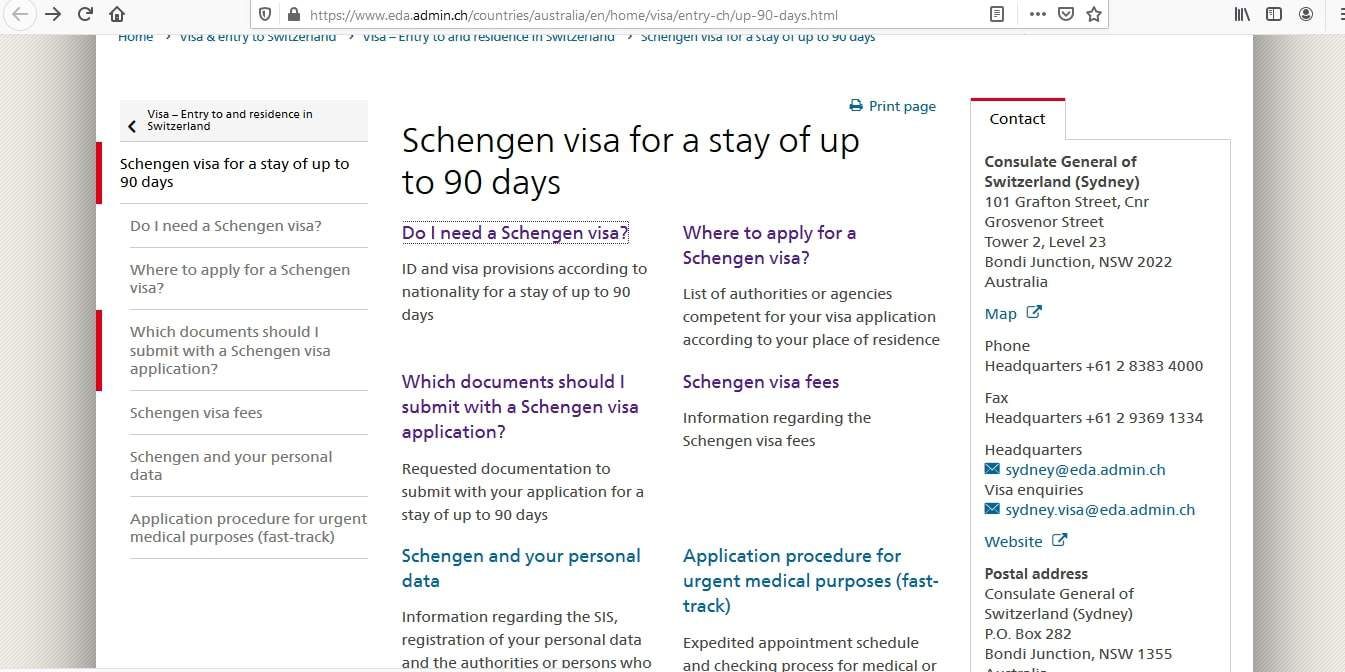 Switzerland Schengen Visa from Australia Application Form2