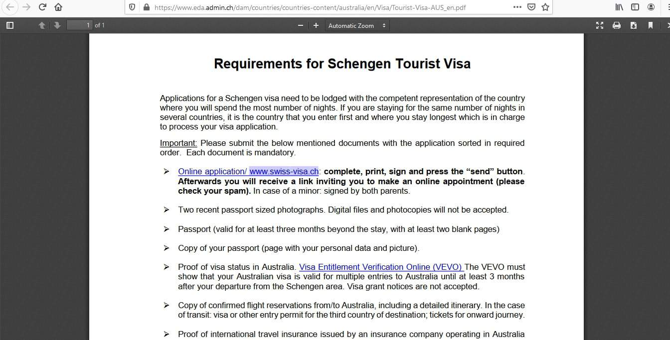 Switzerland Schengen Visa from Australia Application Form4