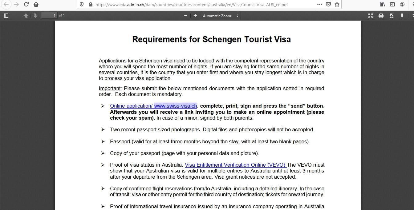Switzerland Schengen Visa from Australia Application Form4