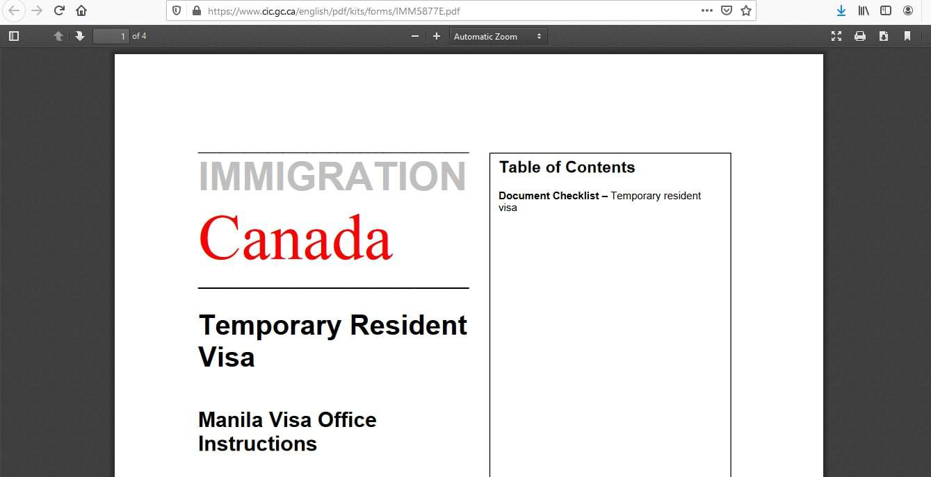 Canada Visa from Philippines Documents Checklist - 1