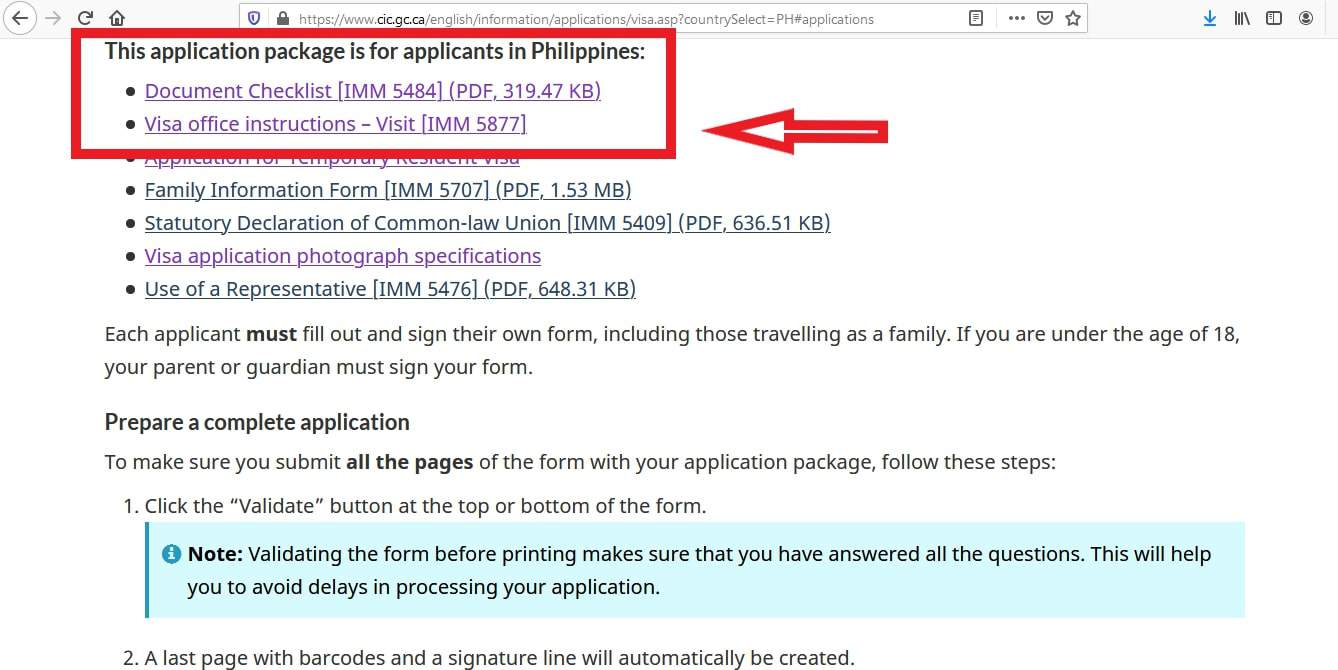 Canada Visa from Philippines Documents Checklist