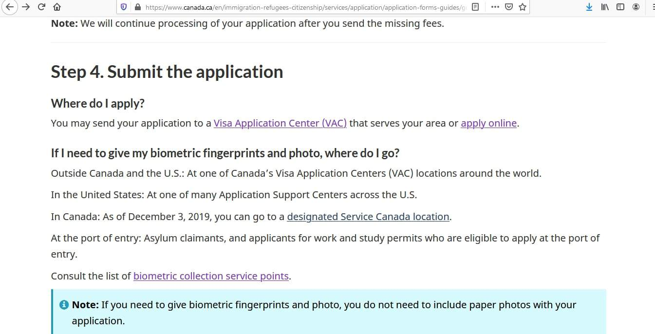 Canada visa - Application Form Submission