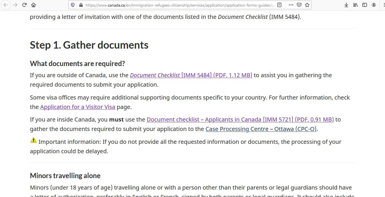 Canada visa - Documents Checklist - 1