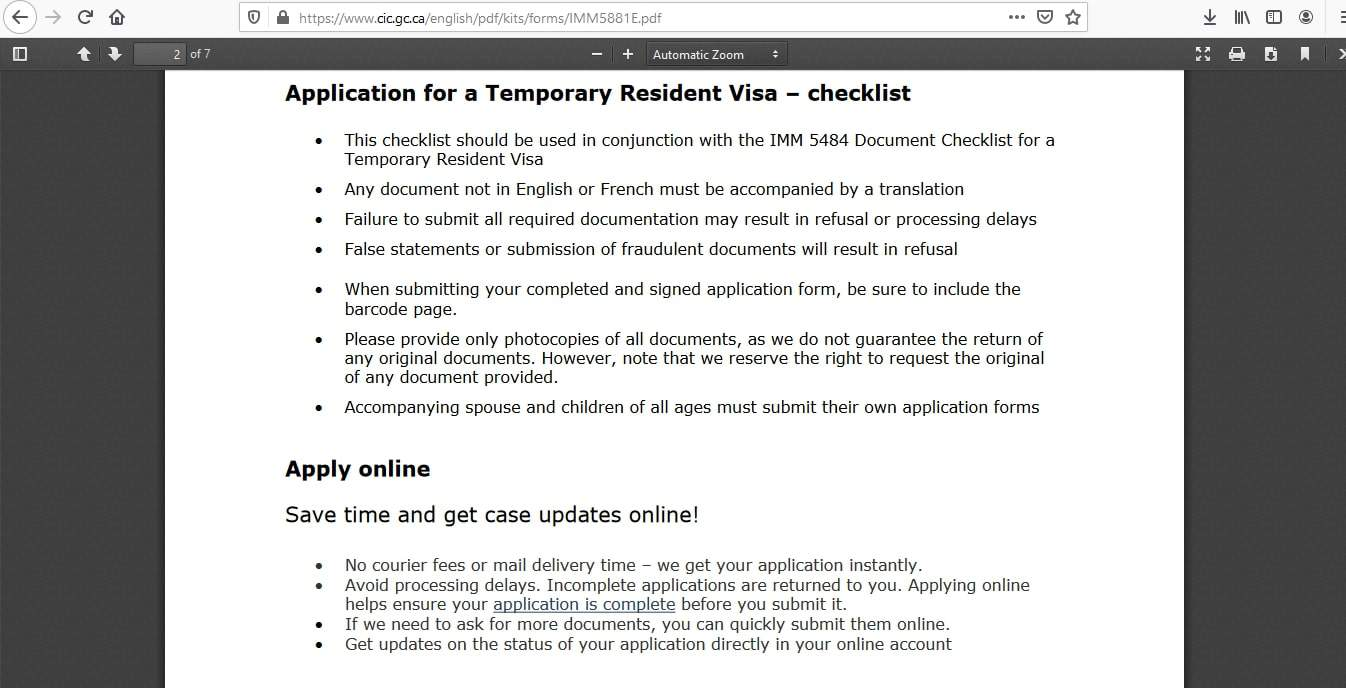 Canada visa - Documents Checklist - 5