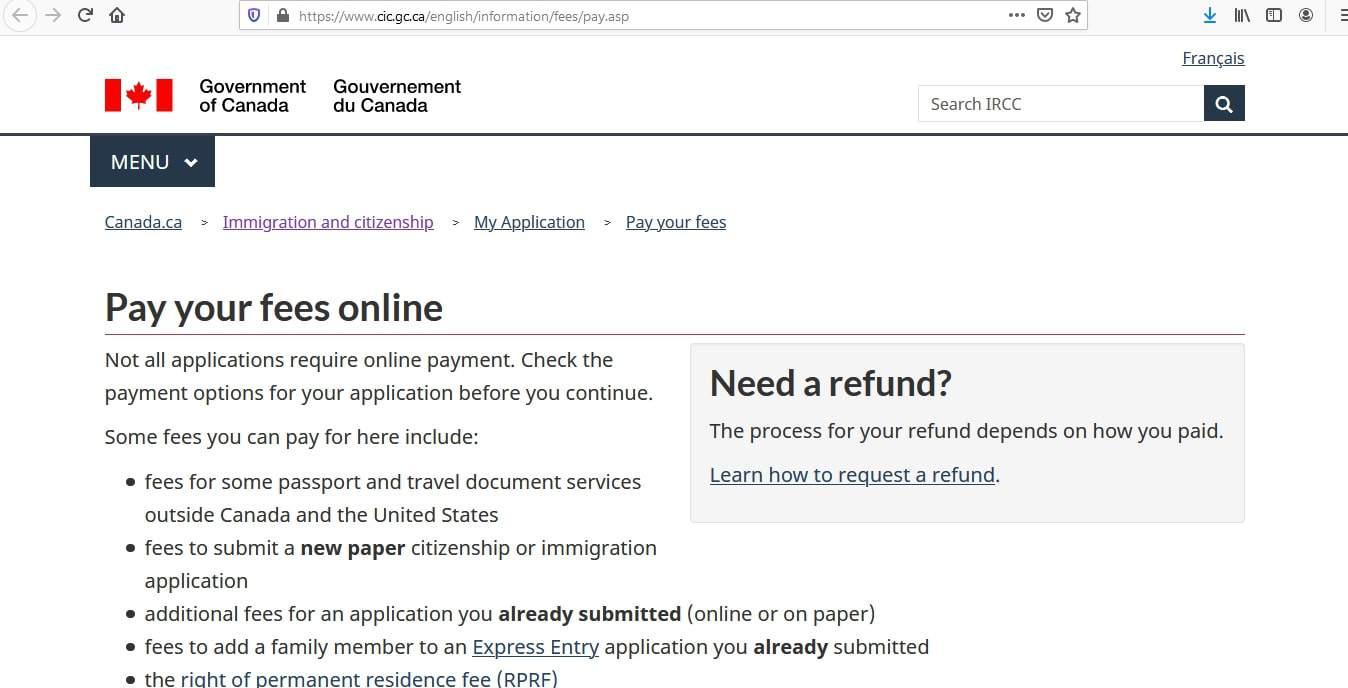 Canada visa - Fees