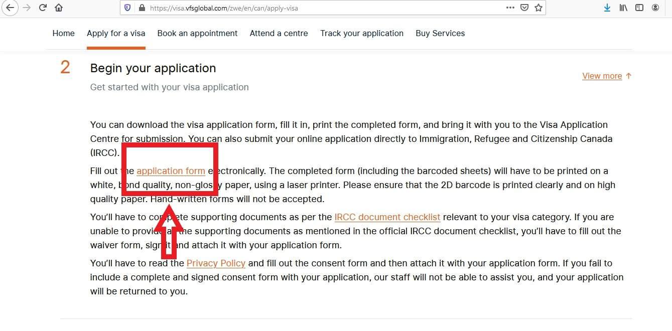 Canada Visa From Zimbabwe Application VFS Global - 2