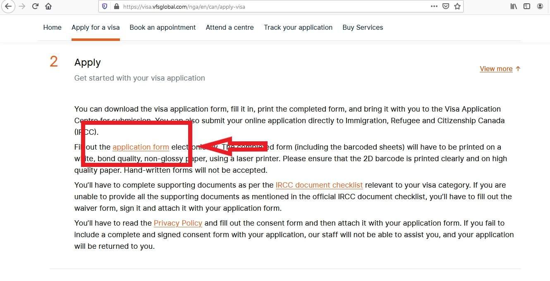 Canada Visa from Nigeria Application Form