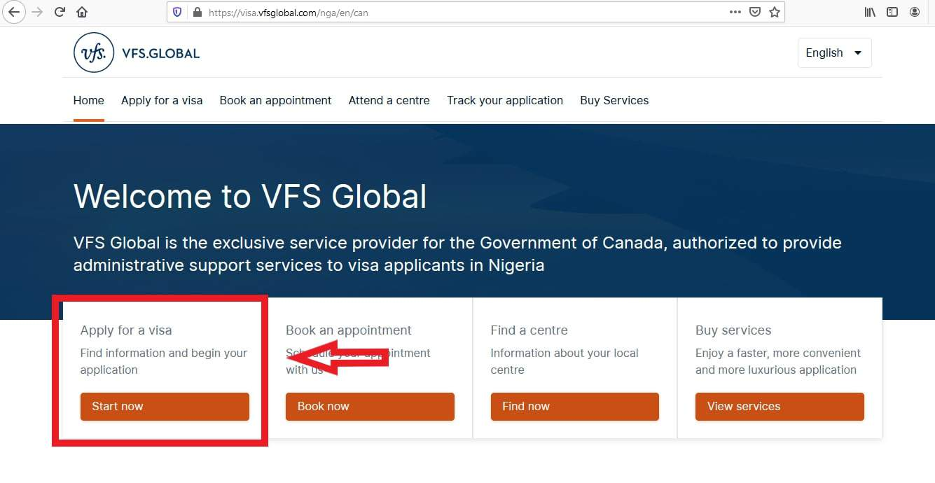 Canada Visa from Nigeria Application VFS - 1