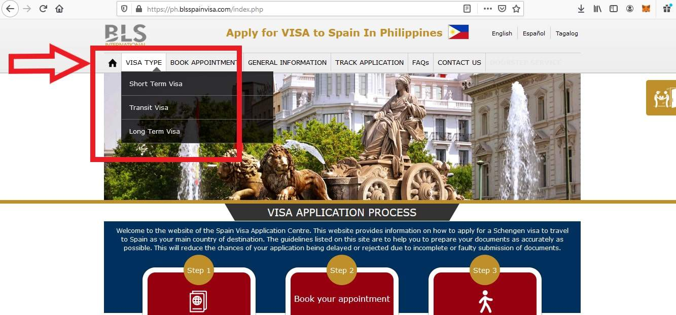 Apply for Spain Visa from Philippines BLS Application 1