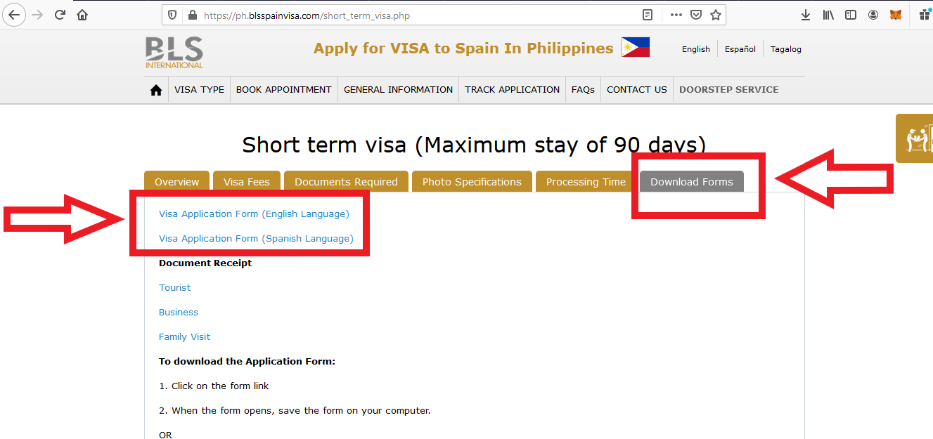 Apply for Spain Visa from Philippines BLS Application 2
